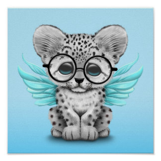 Cute Snow Leopard Cub Fairy Wearing Glasses Blue Poster