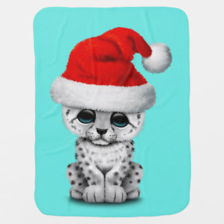Cute Snow leopard Cub Wearing a Santa Hat Baby Blanket