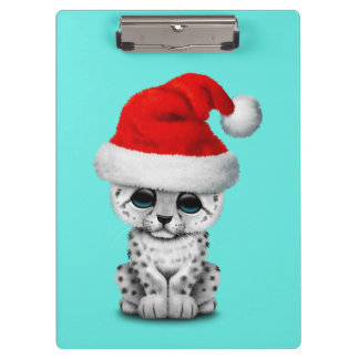 Cute Snow leopard Cub Wearing a Santa Hat Clipboard
