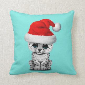 Cute Snow leopard Cub Wearing a Santa Hat Cushion