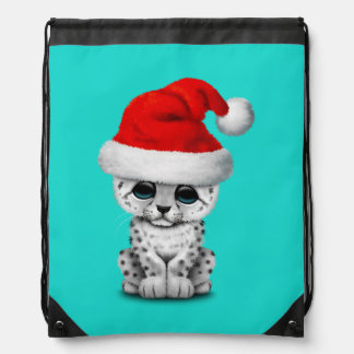 Cute Snow leopard Cub Wearing a Santa Hat Drawstring Bag