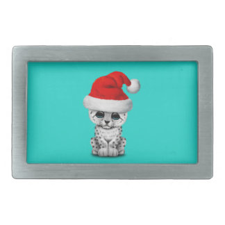 Cute Snow leopard Cub Wearing a Santa Hat Rectangular Belt Buckle