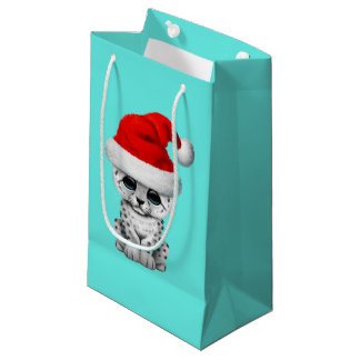 Cute Snow leopard Cub Wearing a Santa Hat Small Gift Bag