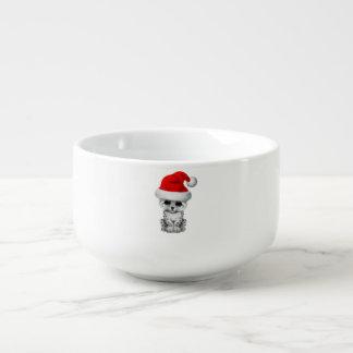Cute Snow leopard Cub Wearing a Santa Hat Soup Mug