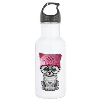 Cute Snow Leopard Cub Wearing Pussy Hat 532 Ml Water Bottle