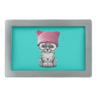 Cute Snow Leopard Cub Wearing Pussy Hat Belt Buckle