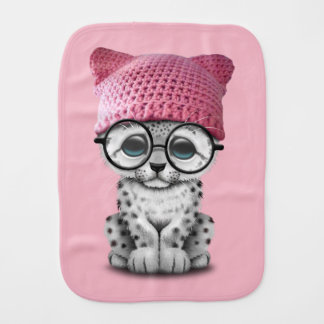 Cute Snow Leopard Cub Wearing Pussy Hat Burp Cloth