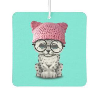 Cute Snow Leopard Cub Wearing Pussy Hat Car Air Freshener
