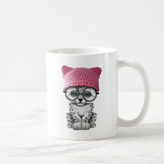 Cute Snow Leopard Cub Wearing Pussy Hat Coffee Mug
