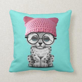 Cute Snow Leopard Cub Wearing Pussy Hat Cushion