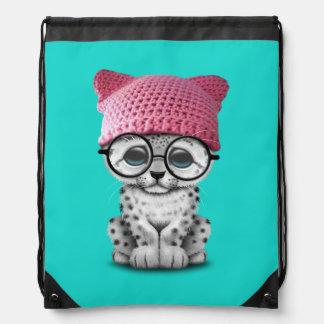 Cute Snow Leopard Cub Wearing Pussy Hat Drawstring Bag