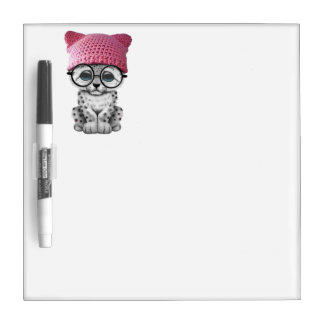 Cute Snow Leopard Cub Wearing Pussy Hat Dry Erase Board