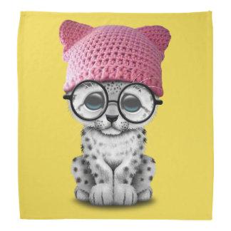 Cute Snow Leopard Cub Wearing Pussy Hat Head Kerchief
