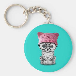 Cute Snow Leopard Cub Wearing Pussy Hat Key Ring