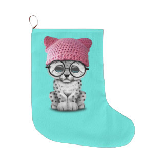 Cute Snow Leopard Cub Wearing Pussy Hat Large Christmas Stocking