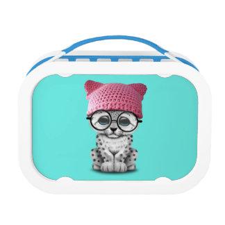 Cute Snow Leopard Cub Wearing Pussy Hat Lunch Box