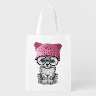Cute Snow Leopard Cub Wearing Pussy Hat Reusable Grocery Bag