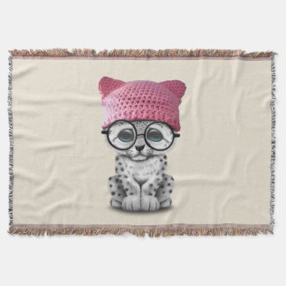 Cute Snow Leopard Cub Wearing Pussy Hat Throw Blanket