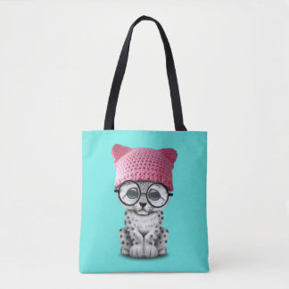 Cute Snow Leopard Cub Wearing Pussy Hat Tote Bag