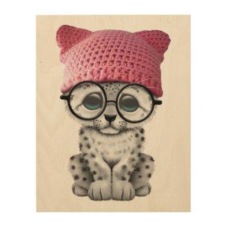 Cute Snow Leopard Cub Wearing Pussy Hat Wood Print