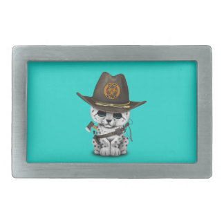 Cute Snow Leopard Cub Zombie Hunter Belt Buckle