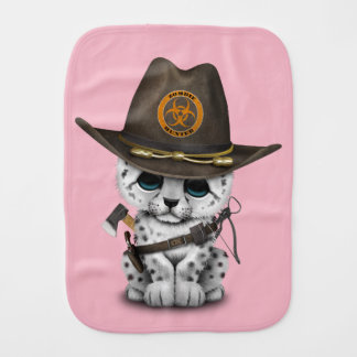 Cute Snow Leopard Cub Zombie Hunter Burp Cloth