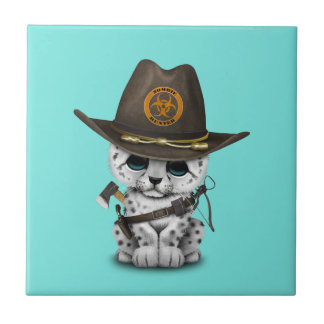 Cute Snow Leopard Cub Zombie Hunter Ceramic Tile