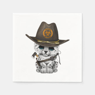 Cute Snow Leopard Cub Zombie Hunter Disposable Napkins