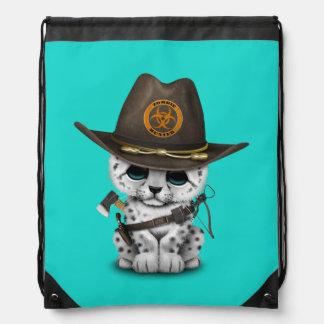 Cute Snow Leopard Cub Zombie Hunter Drawstring Bag