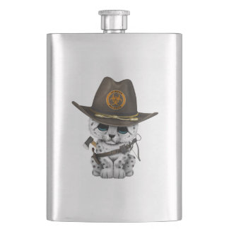 Cute Snow Leopard Cub Zombie Hunter Hip Flask