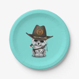Cute Snow Leopard Cub Zombie Hunter Paper Plate
