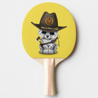 Cute Snow Leopard Cub Zombie Hunter Ping Pong Paddle