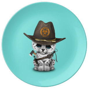 Cute Snow Leopard Cub Zombie Hunter Plate