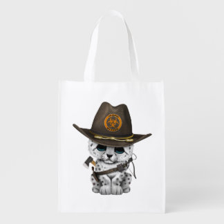 Cute Snow Leopard Cub Zombie Hunter Reusable Grocery Bag