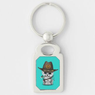 Cute Snow Leopard Cub Zombie Hunter Silver-Colored Rectangle Key Ring