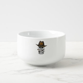 Cute Snow Leopard Cub Zombie Hunter Soup Mug