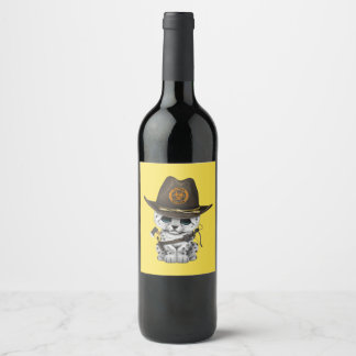 Cute Snow Leopard Cub Zombie Hunter Wine Label