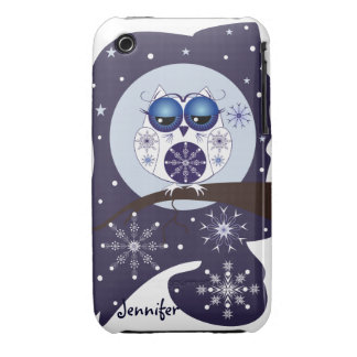 Cute Snow Owl snowflakes and custom Name iPhone 3 Cases