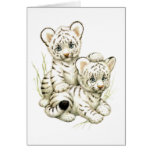 Cute Snow Tiger Cubs Greeting Card