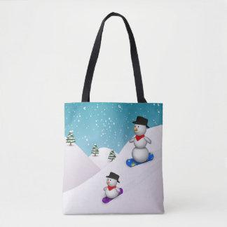 Cute Snowboarding Snowmen All-Over-Print Tote Bag