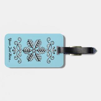 Cute Snowflake On Blue Bag Tag