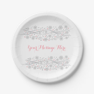 Cute Snowflake Paper Plates Pink & Silver 7 Inch Paper Plate