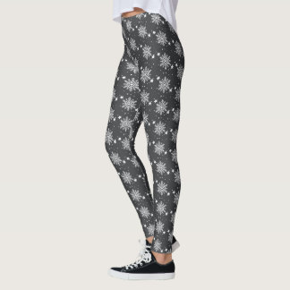 Cute snowflakes black Holiday Christmas Leggings