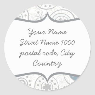 cute snowflakes gray and blue  address label round sticker