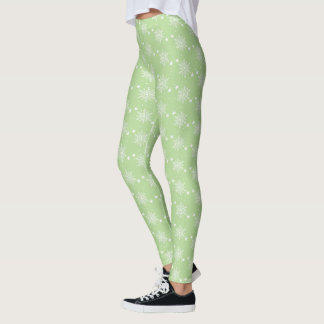 Cute snowflakes on PALE GREEN Christmas Leggings