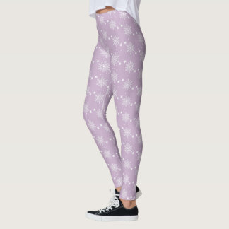 Cute snowflakes on PALE PURPLE Christmas Leggings