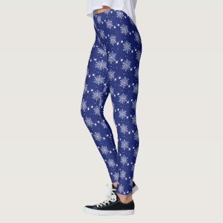 Cute snowflakes Royal Blue Christmas Leggings