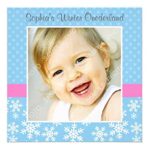 Cute Snowflakes Winter Onederland Photo Birthday Invitations