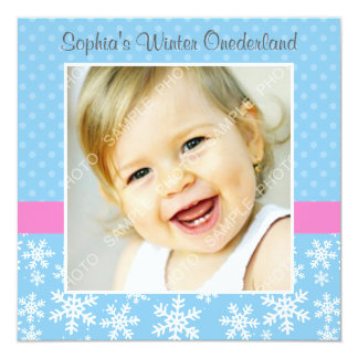 "Cute Snowflakes Winter Onederland Photo Birthday 5.25"" Square Invitation Card"