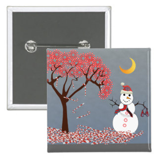 Cute Snowman 15 Cm Square Badge
